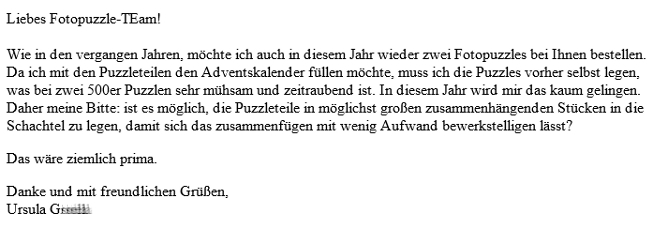 Email Puzzle-Adventskalender-Idee