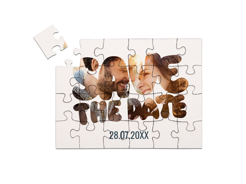 "Save-the-Date Karte als Puzzle gelegt, ""BUBBLE"" in Querformat weiß"