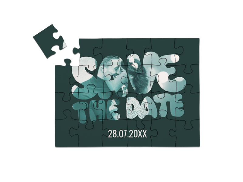 "Save-the-Date Karte als Puzzle gelegt, ""BUBBLE"" in Querformat grau"