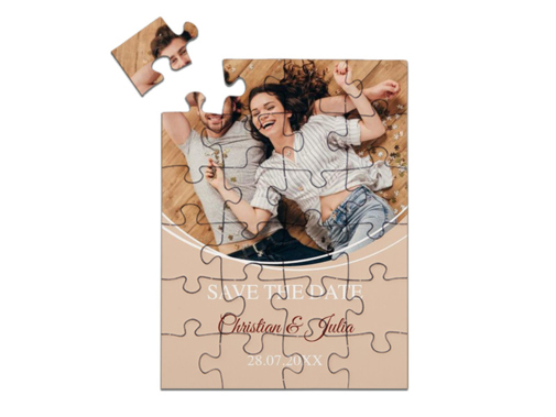 "Save-the-Date Karte als Puzzle gelegt, ""Circles"" in Hochformat creme"