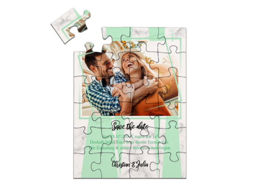 "Save-the-Date Karte als Puzzle gelegt, ""Marble"" in Hochformat mint"