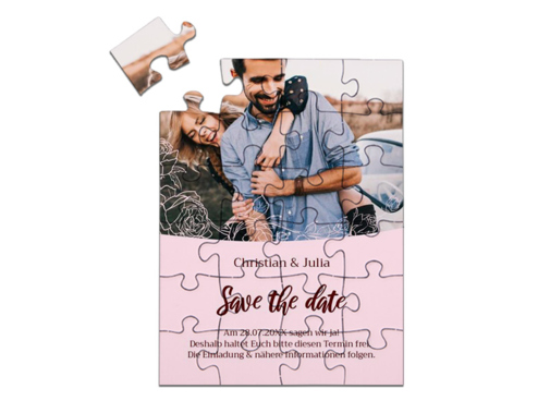 "Save-the-Date Karte als Puzzle gelegt, ""Roses"" in Hochformat rosa"